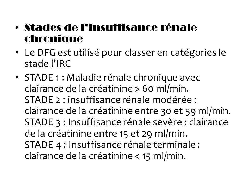 Stades de linsuffisance rénale chronique Le DFG est utilisé pour classer en catégories le stade lIRC STADE 1 : Maladie rénale chronique avec clairance