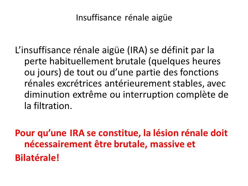 Insuffisance rénale aigüe Linsuffisance rénale aigüe (IRA) se définit par la perte habituellement brutale (quelques heures ou jours) de tout ou dune p