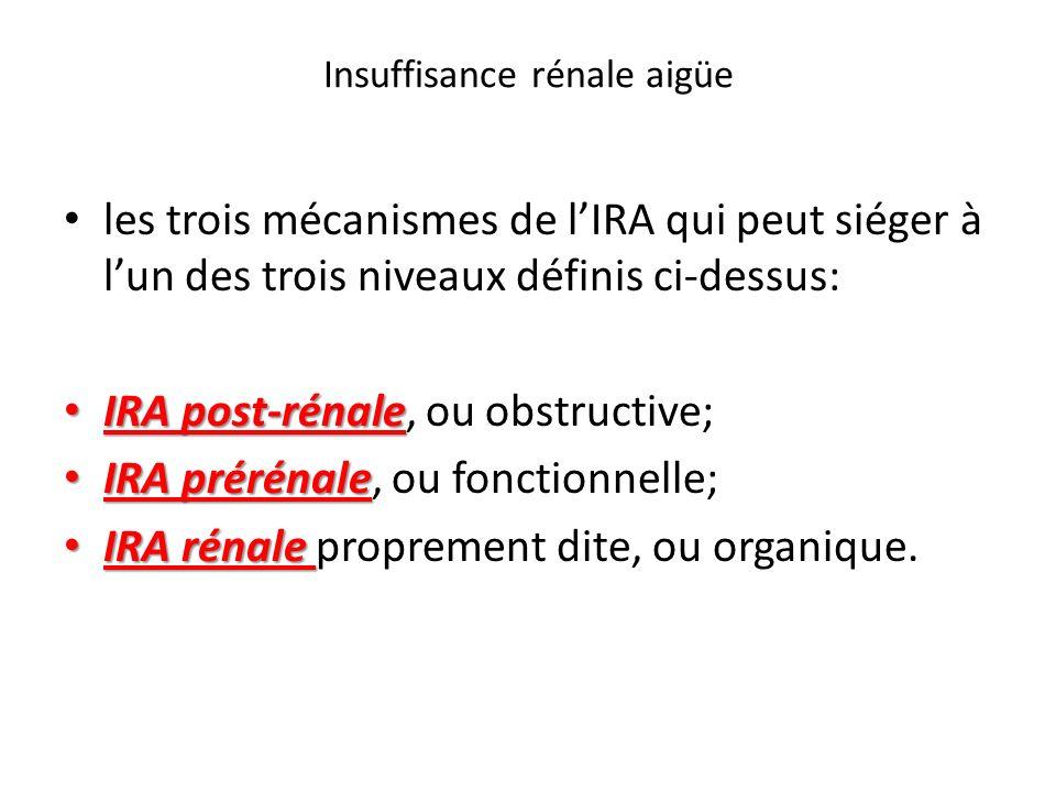 Insuffisance rénale aigüe les trois mécanismes de lIRA qui peut siéger à lun des trois niveaux définis ci-dessus: IRA post-rénale IRA post-rénale, ou