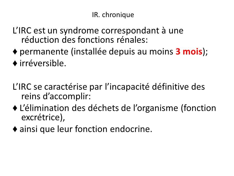 LIRC est un syndrome correspondant à une réduction des fonctions rénales: permanente (installée depuis au moins 3 mois); irréversible. LIRC se caracté