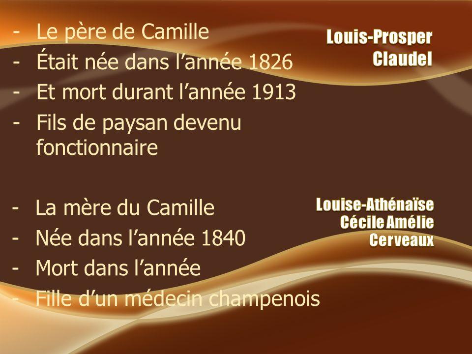 -Le père de Camille -Était née dans lannée 1826 -Et mort durant lannée 1913 -Fils de paysan devenu fonctionnaire -La mère du Camille -Née dans lannée