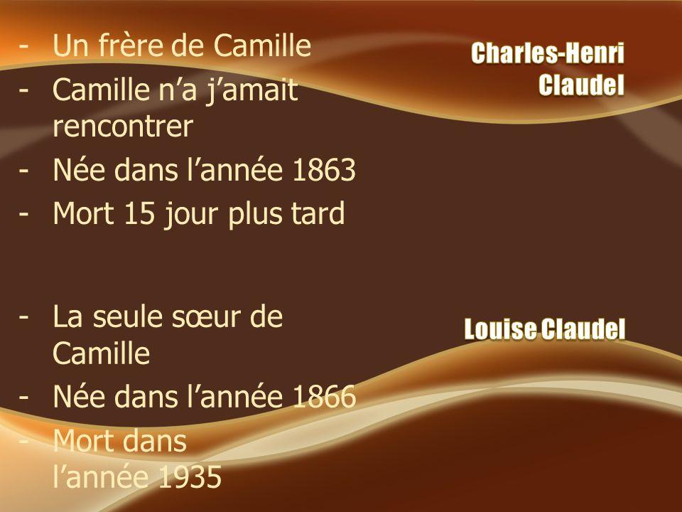 -Un frère de Camille -Camille na jamait rencontrer -Née dans lannée 1863 -Mort 15 jour plus tard -La seule sœur de Camille -Née dans lannée 1866 - Mor