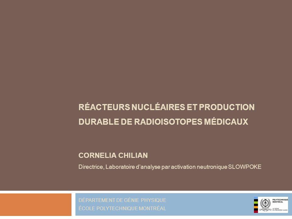 Réacteur SLOWPOKE, École Polytechnique Cornelia Chilian, 24 mai 2012 flux de neutrons volume puissance (moyenne 24h/5j) libre thermique SLOWPOKE1 x 10 11 n/cm 2 /s 0,3 L 20 kW NRU1 x 10 14 n/cm 2 /s 100 L 135 MW Production de 99 Mo avec le réacteur SLOWPOKE insignifiante infrastructure et gestion trop couteuse pour justifier linvestissement