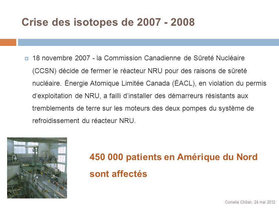 Crise des isotopes de 2007 - 2008 Cornelia Chilian, 24 mai 2012 18 novembre 2007 - la Commission Canadienne de Sûreté Nucléaire (CCSN) décide de ferme