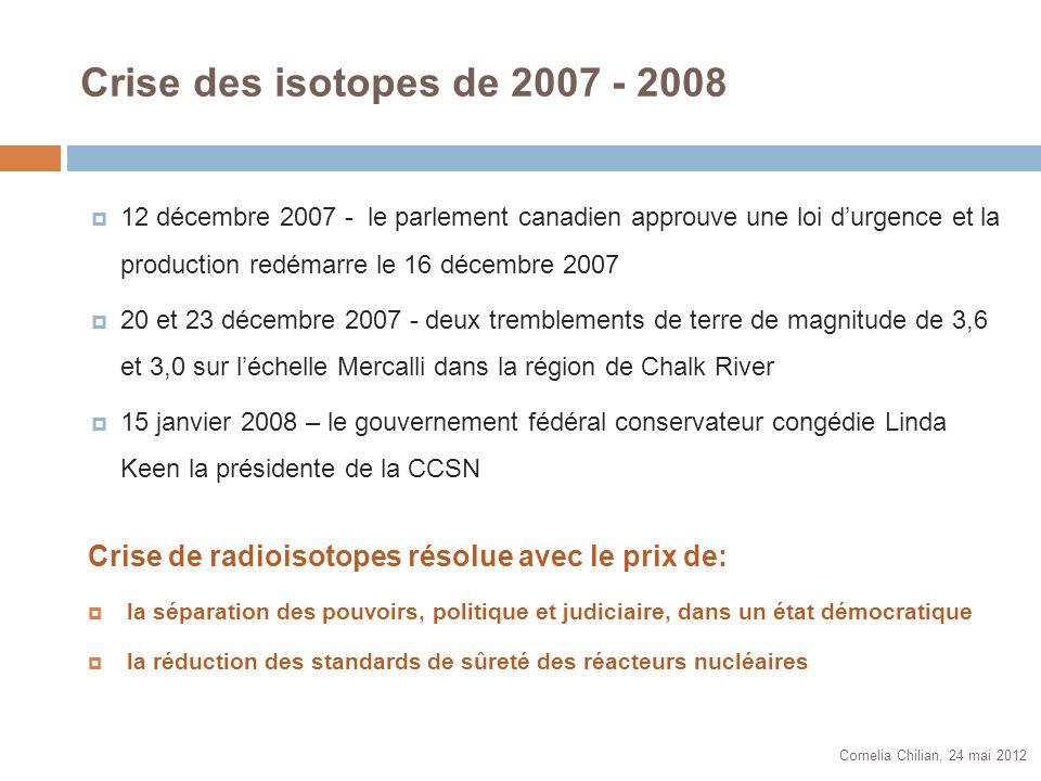 Crise des isotopes de 2007 - 2008 Cornelia Chilian, 24 mai 2012 12 décembre 2007 - le parlement canadien approuve une loi durgence et la production re