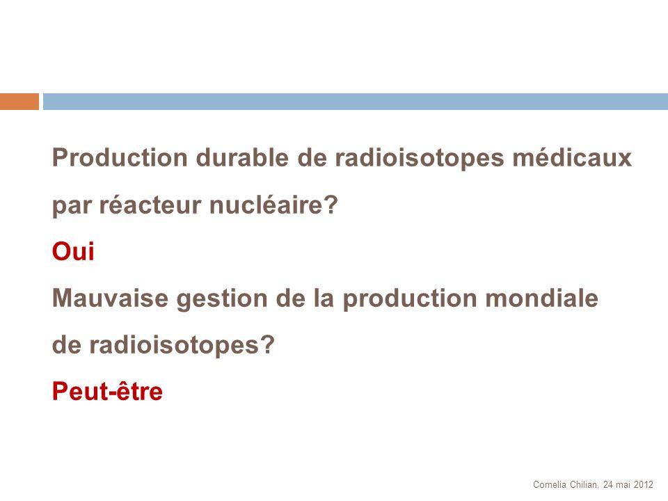 Cornelia Chilian, 24 mai 2012 Production durable de radioisotopes médicaux par réacteur nucléaire? Oui Mauvaise gestion de la production mondiale de r
