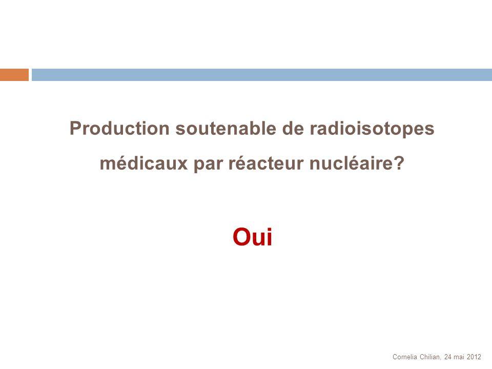 Cornelia Chilian, 24 mai 2012 Production soutenable de radioisotopes médicaux par réacteur nucléaire? Oui