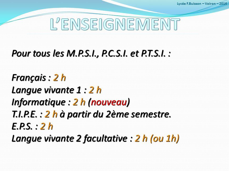 Pour tous les M.P.S.I., P.C.S.I. et P.T.S.I. : Français : 2 h Langue vivante 1 : 2 h Informatique : 2 h (nouveau) T.I.P.E. : 2 h à partir du 2ème seme