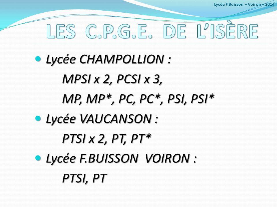 Lycée CHAMPOLLION : Lycée CHAMPOLLION : MPSI x 2, PCSI x 3, MP, MP*, PC, PC*, PSI, PSI* Lycée VAUCANSON : Lycée VAUCANSON : PTSI x 2, PT, PT* Lycée F.