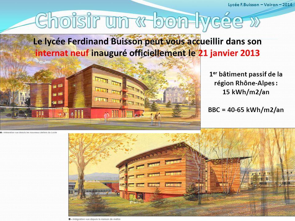 La région rhône-alpes : 15 kwh/m2/an bbc = 40-65 kwh/m2/an le lycée