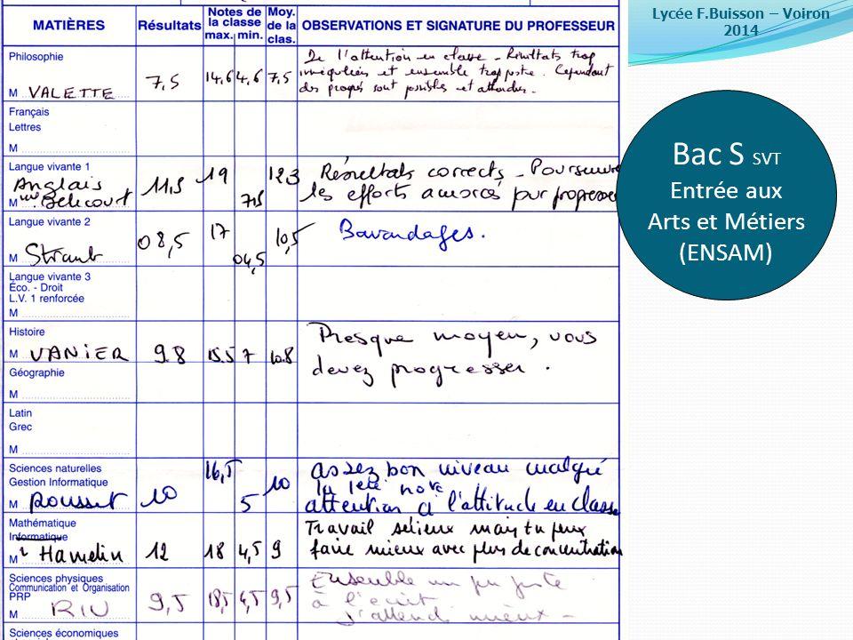 Lycée F.Buisson – Voiron 2014 Bac S SVT Entrée aux Arts et Métiers (ENSAM)