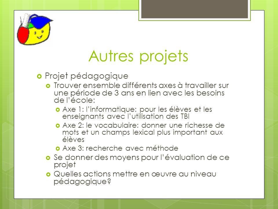 Autres projets Projet pédagogique Trouver ensemble différents axes à travailler sur une période de 3 ans en lien avec les besoins de lécole: Axe 1: li