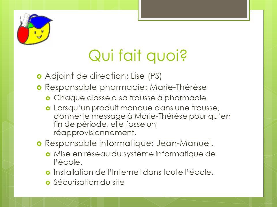 Qui fait quoi? Adjoint de direction: Lise (PS) Responsable pharmacie: Marie-Thérèse Chaque classe a sa trousse à pharmacie Lorsquun produit manque dan