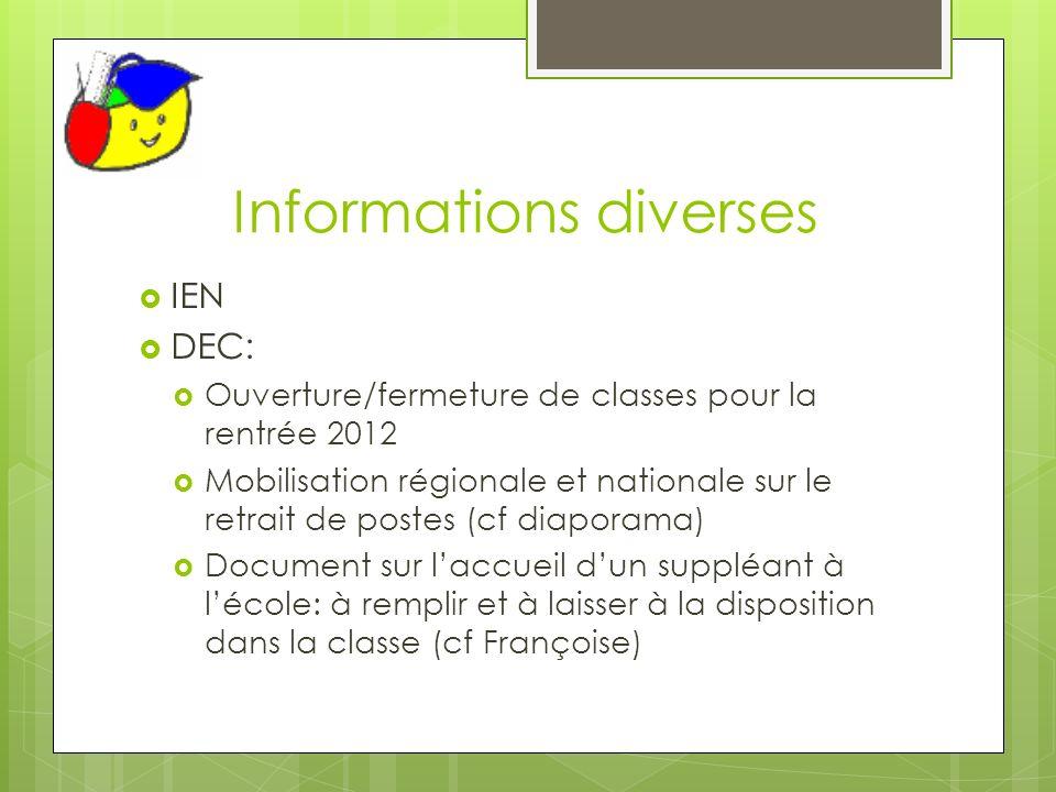 Informations diverses IEN DEC: Ouverture/fermeture de classes pour la rentrée 2012 Mobilisation régionale et nationale sur le retrait de postes (cf di