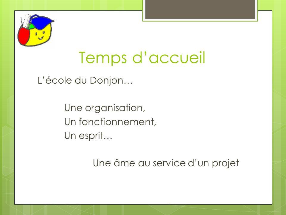 Temps daccueil Lécole du Donjon… Une organisation, Un fonctionnement, Un esprit… Une âme au service dun projet
