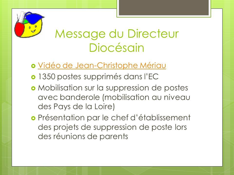 Message du Directeur Diocésain Vidéo de Jean-Christophe Mériau 1350 postes supprimés dans lEC Mobilisation sur la suppression de postes avec banderole