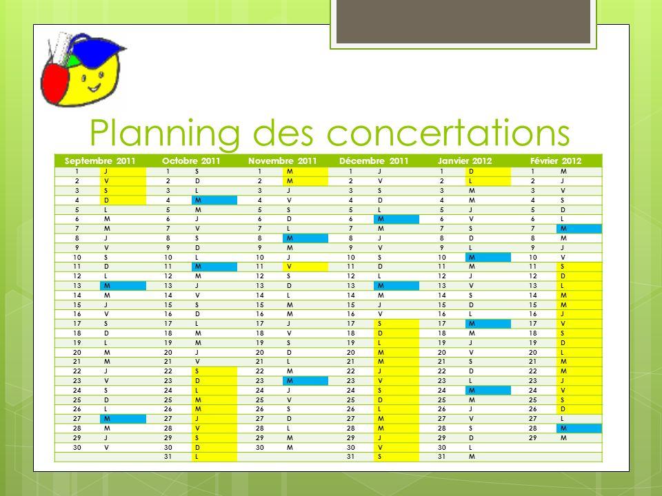 Planning des concertations Septembre 2011Octobre 2011Novembre 2011Décembre 2011Janvier 2012Février 2012 1J1S1M1J1D1M 2V2D2M2V2L2J 3S3L3J3S3M3V 4D4M4V4