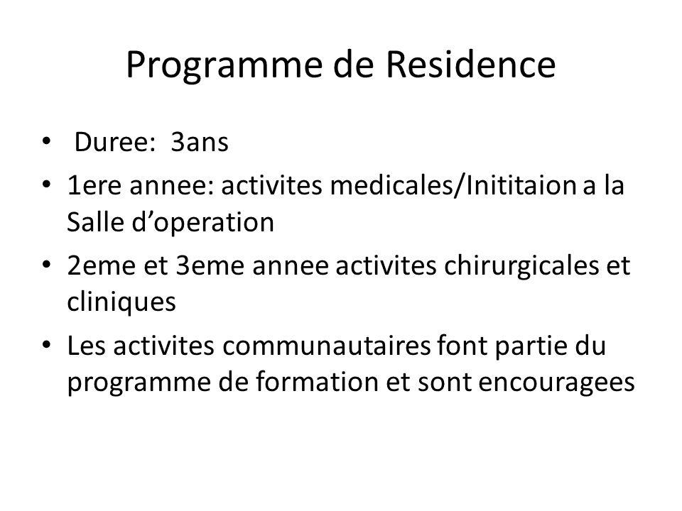 Programme de Residence Duree: 3ans 1ere annee: activites medicales/Inititaion a la Salle doperation 2eme et 3eme annee activites chirurgicales et cliniques Les activites communautaires font partie du programme de formation et sont encouragees