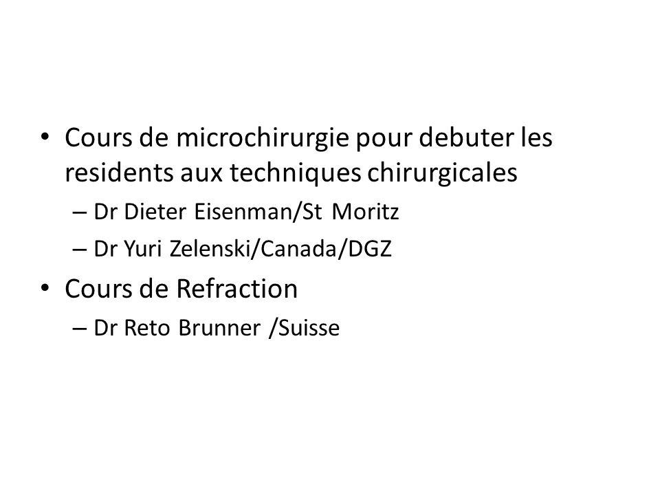 Cours de microchirurgie pour debuter les residents aux techniques chirurgicales – Dr Dieter Eisenman/St Moritz – Dr Yuri Zelenski/Canada/DGZ Cours de Refraction – Dr Reto Brunner /Suisse