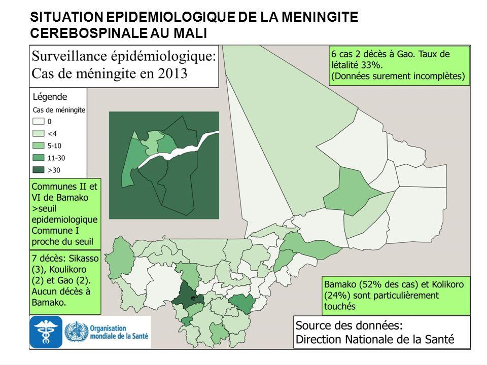 Situation cumulée les années précédentes à la même période : 2012 : 900 cas suspects dont 12 décès (létalité : 1,33 %) ; 1997 : 11 228 cas suspects dont 1126 décès (létalité : 10,03 %), année dépidémie généralisée au Mali.