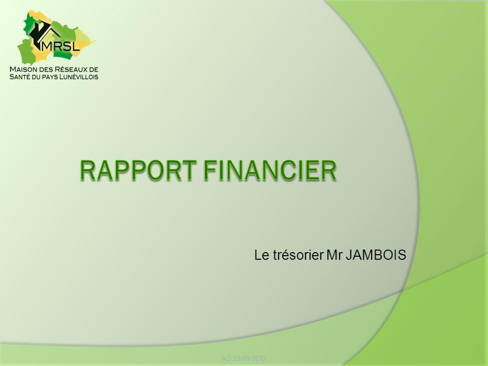 AG 23/05/2013 Le trésorier Mr JAMBOIS