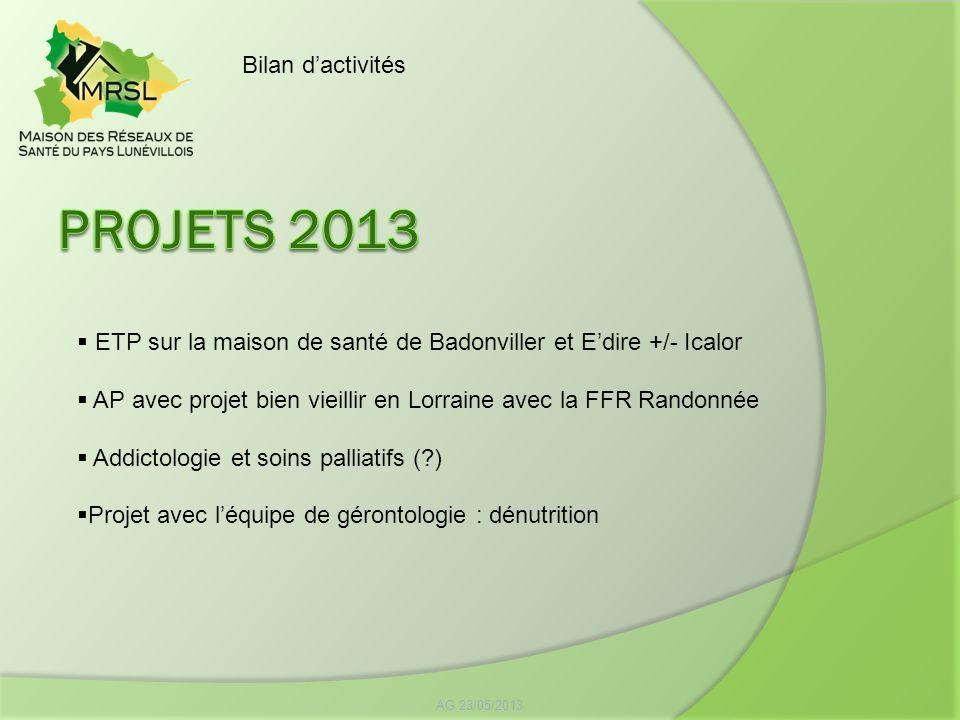 AG 23/05/2013 Bilan dactivités ETP sur la maison de santé de Badonviller et Edire +/- Icalor AP avec projet bien vieillir en Lorraine avec la FFR Rand