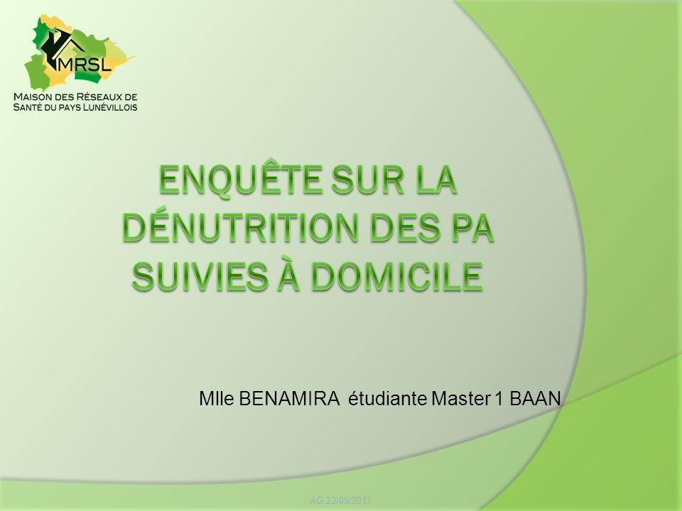 AG 23/05/2013 Mlle BENAMIRA étudiante Master 1 BAAN