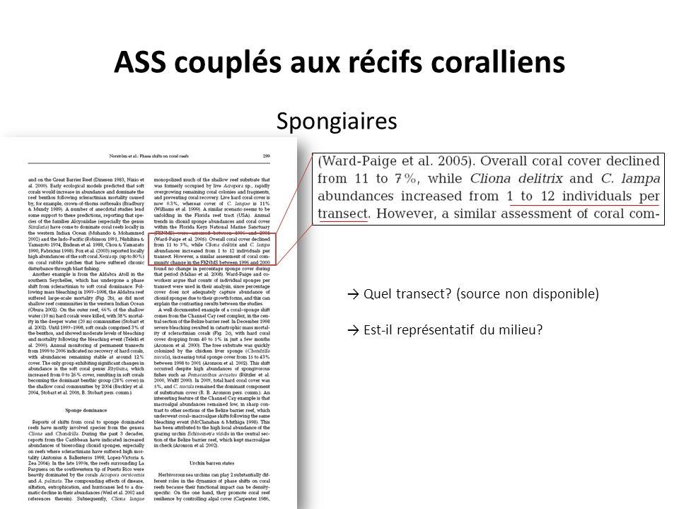 ASS couplés aux récifs coralliens Spongiaires Quel transect.