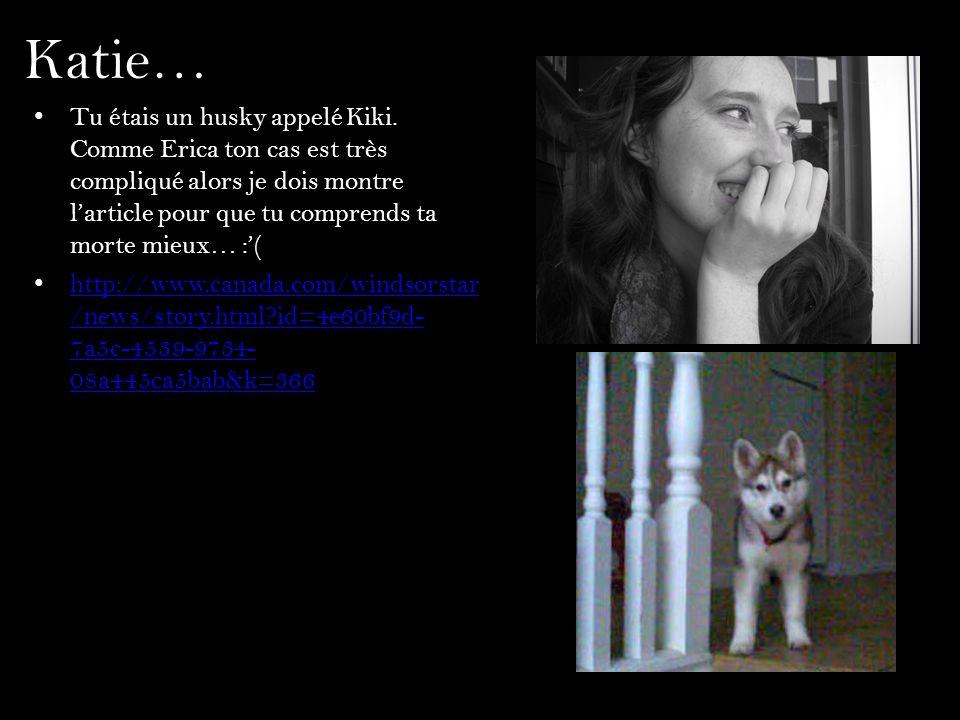 Katie… Tu étais un husky appelé Kiki. Comme Erica ton cas est très compliqué alors je dois montre larticle pour que tu comprends ta morte mieux… :( ht