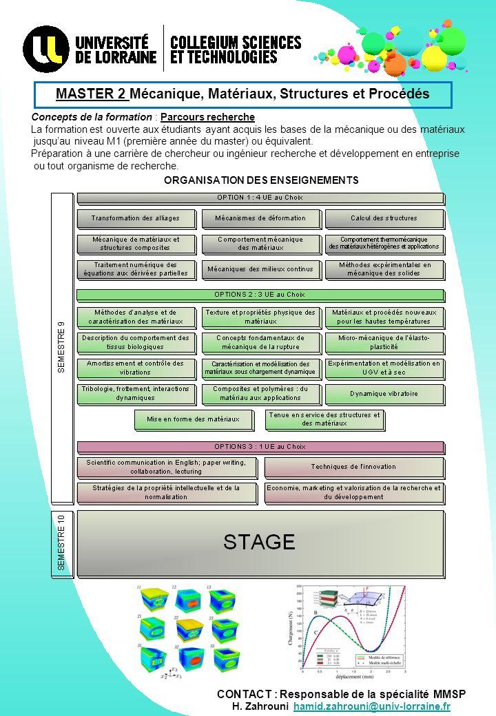 CONTACT : Responsable de la spécialité MMSP H.