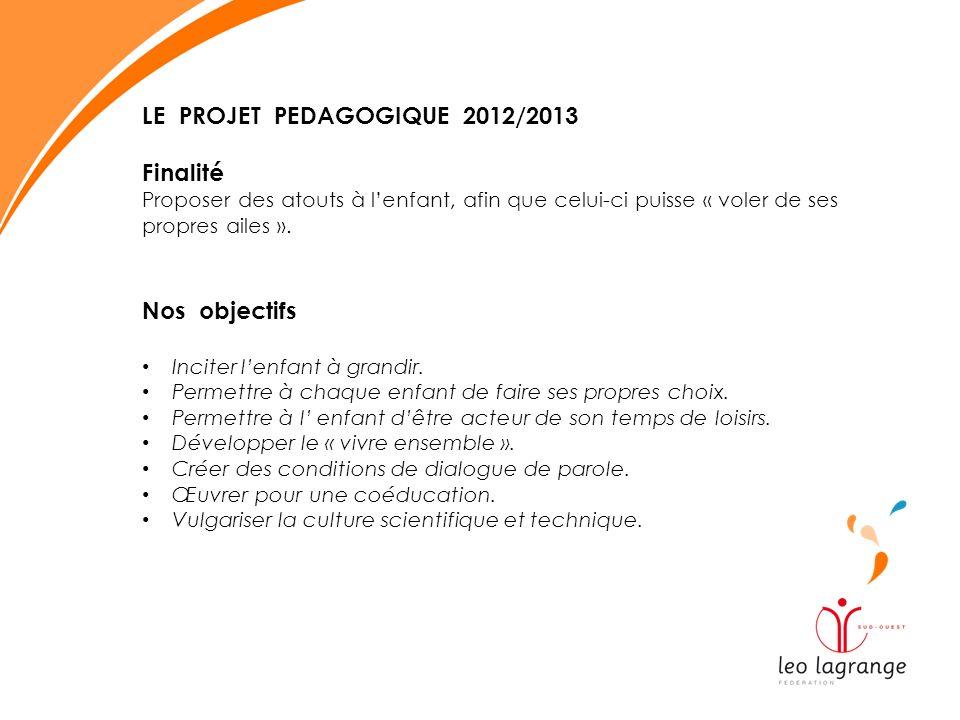 LE PROJET PEDAGOGIQUE 2012/2013 Finalité Proposer des atouts à lenfant, afin que celui-ci puisse « voler de ses propres ailes ». Nos objectifs Inciter