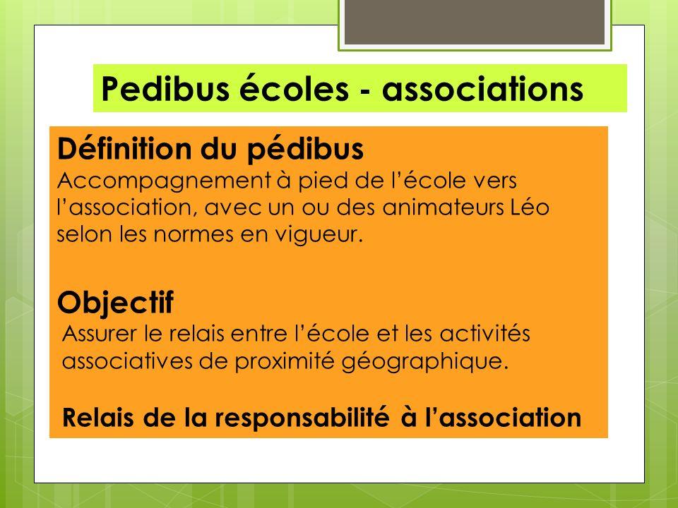 Pedibus écoles - associations Définition du pédibus Accompagnement à pied de lécole vers lassociation, avec un ou des animateurs Léo selon les normes