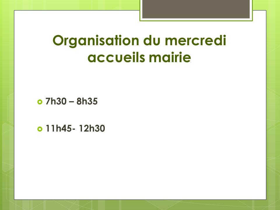 Organisation du mercredi accueils mairie 7h30 – 8h35 11h45- 12h30