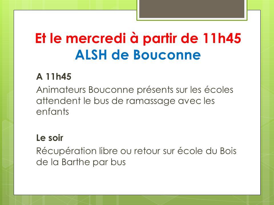 Et le mercredi à partir de 11h45 ALSH de Bouconne A 11h45 Animateurs Bouconne présents sur les écoles attendent le bus de ramassage avec les enfants L
