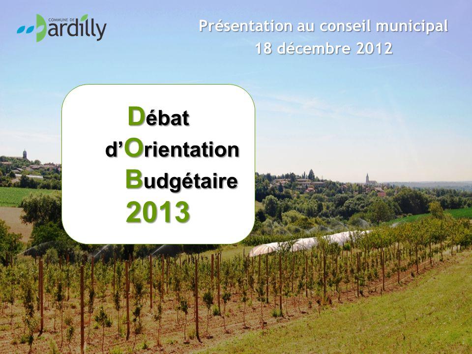 D ébat d O rientation B udgétaire 2013 Présentation au conseil municipal 18 décembre 2012