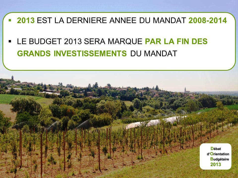 2013 EST LA DERNIERE ANNEE DU MANDAT 2008-2014 LE BUDGET 2013 SERA MARQUE PAR LA FIN DES GRANDS INVESTISSEMENTS DU MANDAT