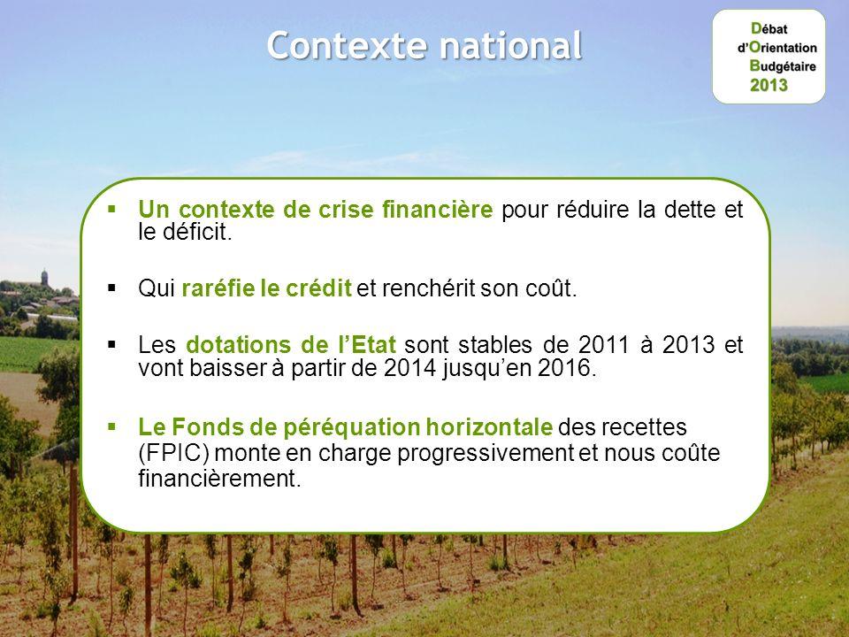 Contexte national Un contexte de crise financière pour réduire la dette et le déficit.