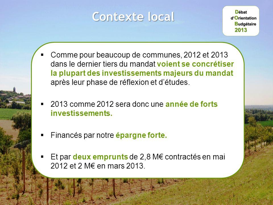 Contexte local Comme pour beaucoup de communes, 2012 et 2013 dans le dernier tiers du mandat voient se concrétiser la plupart des investissements majeurs du mandat après leur phase de réflexion et détudes.