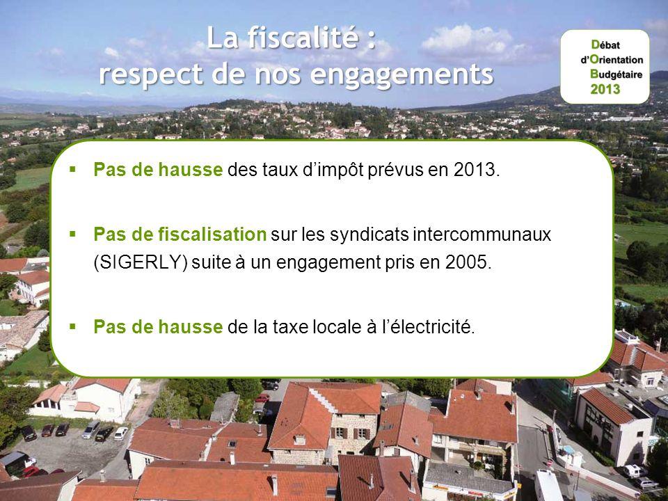 La fiscalité : respect de nos engagements Pas de hausse des taux dimpôt prévus en 2013.