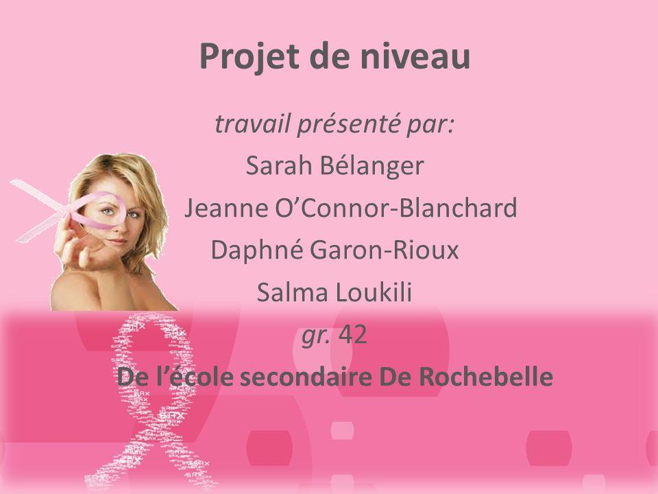 Projet de niveau travail présenté par: Sarah Bélanger Jeanne OConnor-Blanchard Daphné Garon-Rioux Salma Loukili gr.