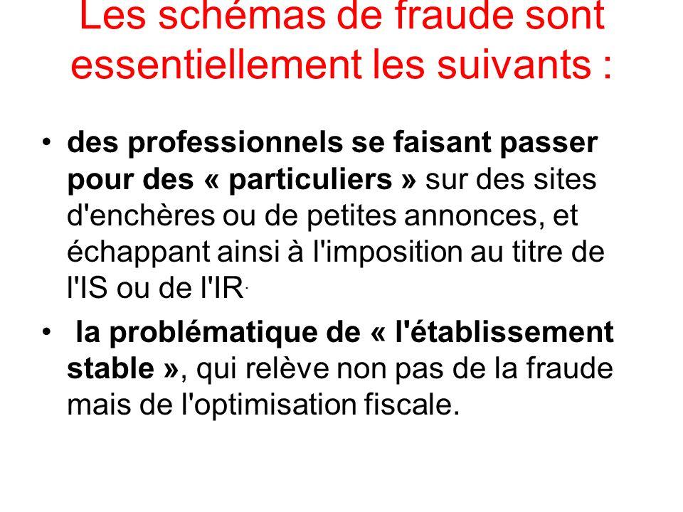Les schémas de fraude sont essentiellement les suivants : des professionnels se faisant passer pour des « particuliers » sur des sites d'enchères ou d