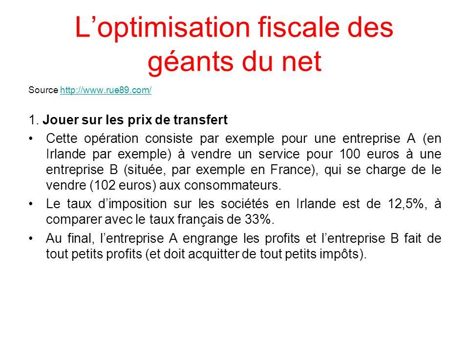 Loptimisation fiscale des géants du net Source http://www.rue89.com/http://www.rue89.com/ 1. Jouer sur les prix de transfert Cette opération consiste