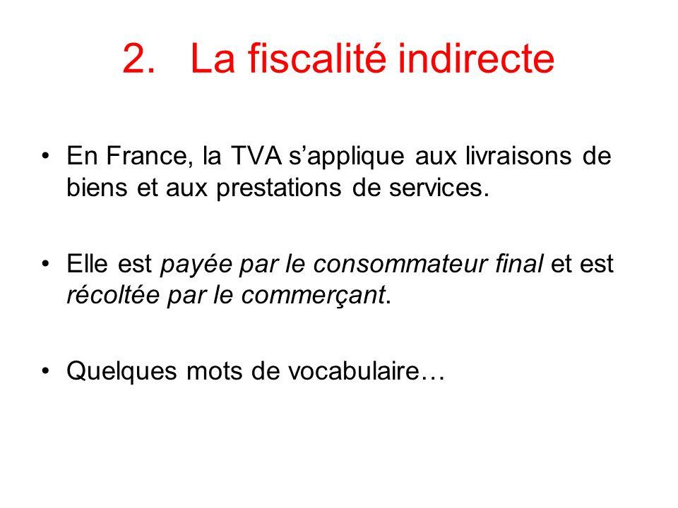 2.La fiscalité indirecte En France, la TVA sapplique aux livraisons de biens et aux prestations de services. Elle est payée par le consommateur final