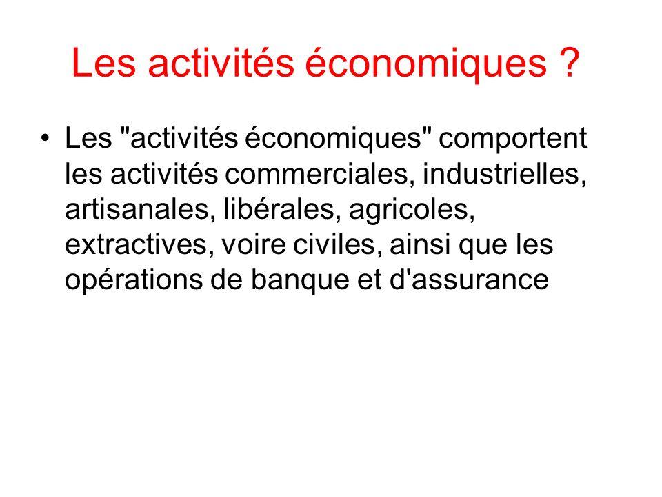 Les activités économiques ? Les