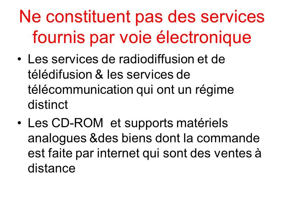 Ne constituent pas des services fournis par voie électronique Les services de radiodiffusion et de télédifusion & les services de télécommunication qu