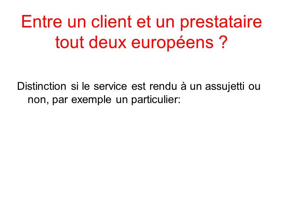 Entre un client et un prestataire tout deux européens ? Distinction si le service est rendu à un assujetti ou non, par exemple un particulier: