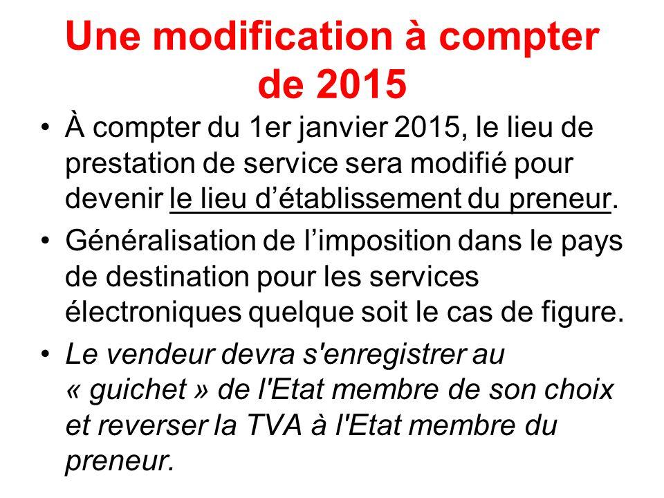 Union Européenne ¹ Une modification à compter de 2015 À compter du 1er janvier 2015, le lieu de prestation de service sera modifié pour devenir le lie