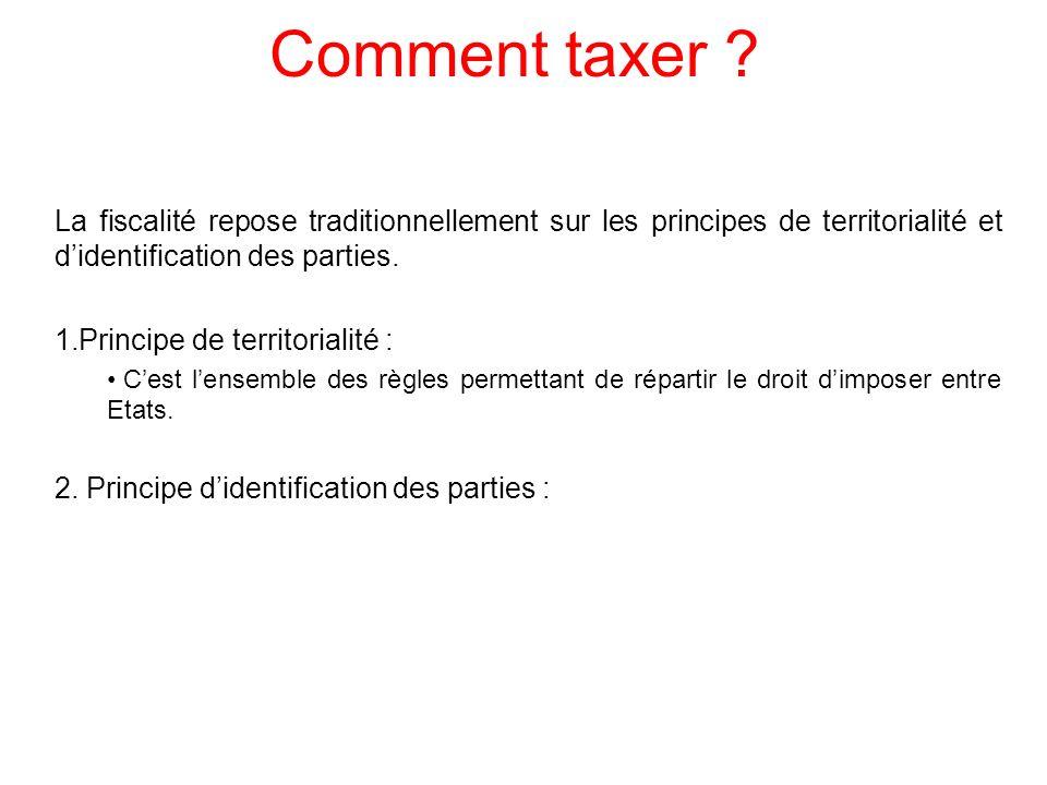 Comment taxer ? La fiscalité repose traditionnellement sur les principes de territorialité et didentification des parties. 1.Principe de territorialit
