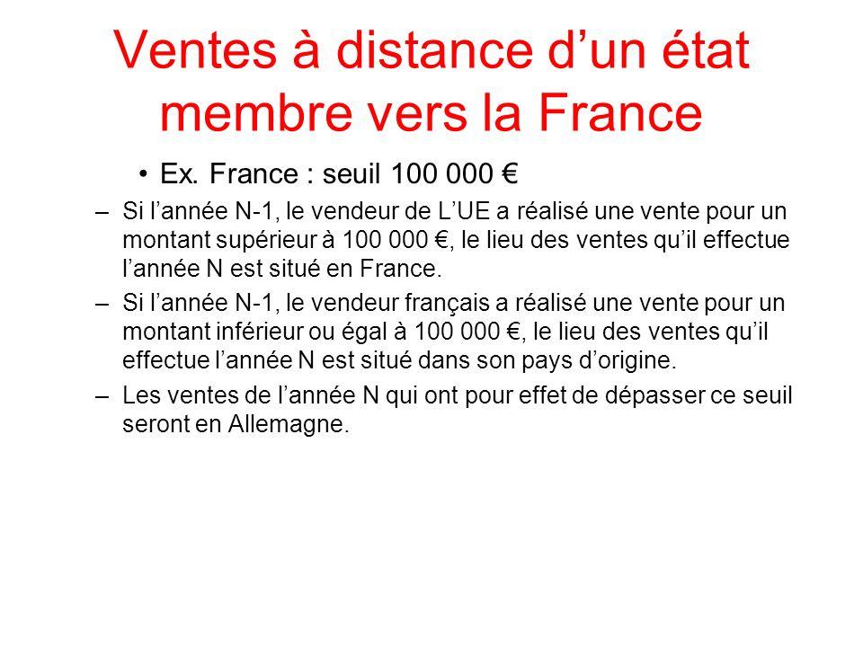 Ventes à distance dun état membre vers la France Ex. France : seuil 100 000 –Si lannée N-1, le vendeur de LUE a réalisé une vente pour un montant supé