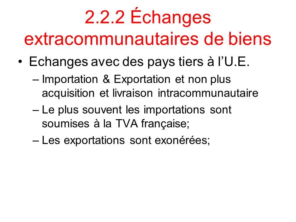 2.2.2 Échanges extracommunautaires de biens Echanges avec des pays tiers à lU.E. –Importation & Exportation et non plus acquisition et livraison intra